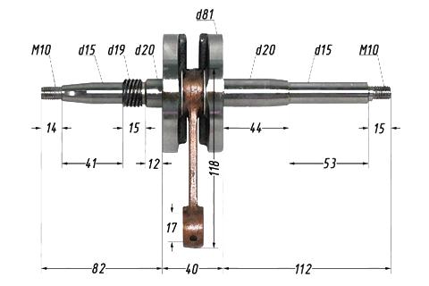 Вал коленчатый в сборе 2Т AF48(JF06,HF05); LEAD90, LEAD100 4620767361570