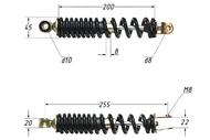 Амортизатор задний (L-255mm,D-10mm,M8) JOG,J50,CITY 4620753547193