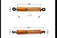 Амортизатор гусеничного блока малый (L-240mm,D-8mm,d-8mm) T150 (цв. оранжевый) 4670025450652