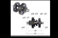 Вал КПП с шестернями (L=117mm) 157QMJ(JL); T150, ATV150 4680329025708