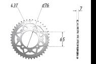Звезда ведомая (428-43T) (4x65) D76; TTR125 4680329026552